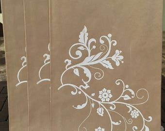 White Floral Embossed Kraft Gift Bags, Set of 3