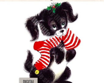 Digital Vintage Image Clipart, Christmas Dog Puppy with Stocking