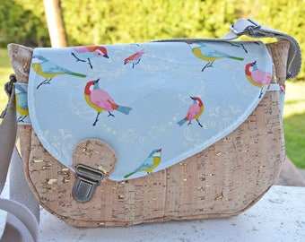 Satchel Cork Tairie gold and birds