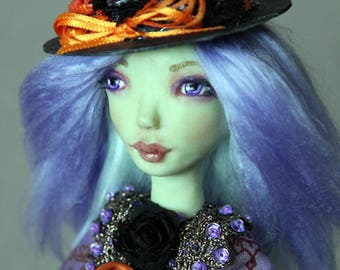 ooak artdoll Purple Witch Anessa with magic spell book