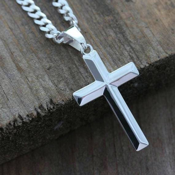 Mens cross necklace sterling silver cross necklace elegant aloadofball Image collections