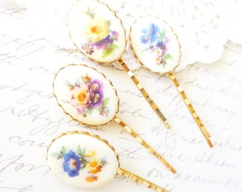 Vintage Limoges Hair Pin Set - Vintage Flower Cameo Bobby Pins - Blue Yellow Purple Rose Hair Pins - Floral Flower Hair Pin - Hair Accessory