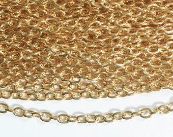45 ft of Light Gold Plated round cable chain 2.6X3.9mm, gold plated steel chain, bulk gold chain