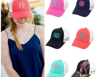 Monogrammed Trucker Hat Baseball Cap Embroidered Monogram Coral Pink Mint Green Navy Blue
