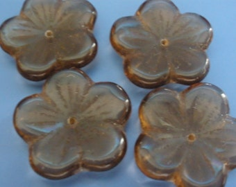 Vintage Glass Beads (4)(20mm) Taupe Flower Beads