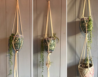 Macrame Plant Hanger- Natural cotton/ For small pots
