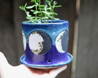 Moon Phases Planter Pot in Purple Blue and Green Glazes
