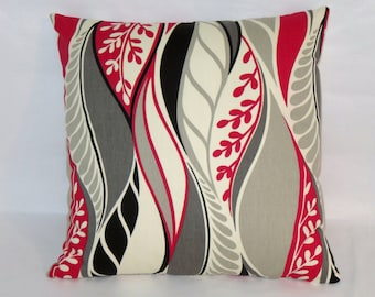 "Red Grey Black Mod Leaf Pillow Cover, Mid Century Retro, Swirl Feather, 17"" Square Cotton"