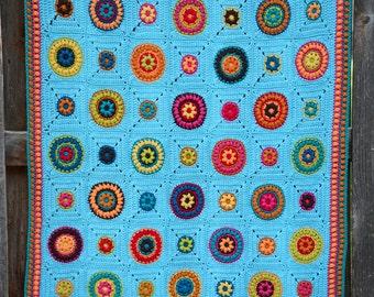 Crochet Blanket PATTERN - Hippie Gypsy Blanket - crochet pattern for boho afghan blanket, crochet afghan pattern - Instant PDF Download
