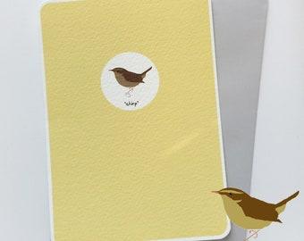 Wren Card/British Garden Natives/Hand Drawn/Individual Card/Blank Card/Note Card/Gift Card/British Birds/Bird Lover.