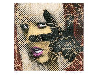 Lady Gaga portrait silkscreen print