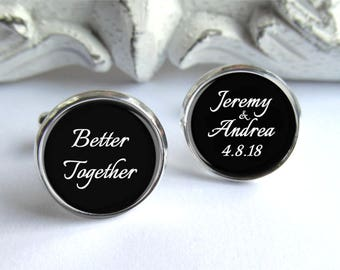 Groom Cufflinks, Personalized Wedding Cufflinks, Romantic Gift For Him