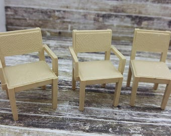 Marx  Dining  chairs Contemporary Plastic  Toy Dollhouse tan arm chairs kitchen hard plastic