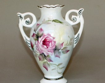 Hand Painted Pink Rose Porcelain  Vase