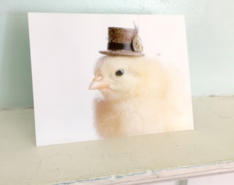 Chicken Card Wearing A Steampunk Hat Chicks in Hats Baby Animal Notecards Cute Stationary #97