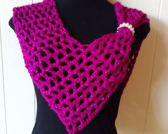 Crochet Metallic V-shaped Infinity Scarf with Pearl Accent