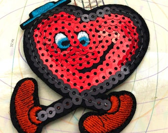 Bright Red Heart Walking Sequin Embroidered Iron on Patch Applique BR011518