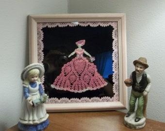 Miniature Crocheted Crinoline Lady in Pink Framed Under Glass  8 X 8