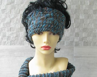 Winter Accessories, Dreadlock Hat, Headband, Ear Warmer, Cable Knit Head band for Women, Christmas Gift Turquoise Brown