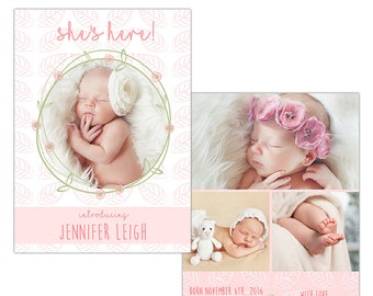 Birth Announcement Photoshop Template--Instant Download n103