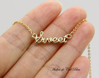 Sweet Necklace, Gold Sweet Necklace, Sweet Word Necklace, Cursive Word Charm Necklace, Cursive Letter Necklace, Word Necklace, Gift for her