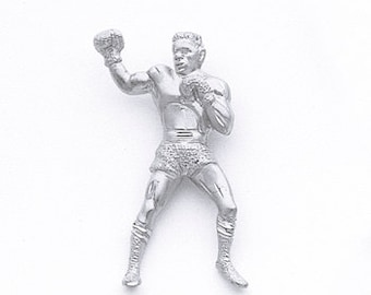 Sterling Silver Boxer Pendant, Boxer Pendant, Boxing Jewelry, Fighting Jewelry, Sports Jewelry, Boxer