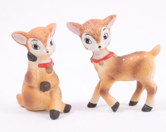 Vintage Ceramic Reindeer Christmas Deer Cute Collection of Two Napco ~ The Pink Room ~ 161002A