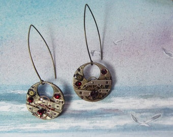 Steampunk Earrings made of cogs+mecanic watchpieces decorated with black resin and red Swarovski flat cabochons, mecanic watch recycling
