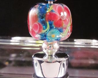 Encased Floral Beaded Wine Stopper, Bottle Stopper, Artisan Lampwork Glass, Hand Crafted, Metal, Unique, Beadable, Decorative, OOAK, SRAJD