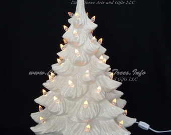 White Christmas Ceramic Christmas Tree 19 inches