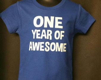 ONE year of awesome - 1st Birthday shirt - Front and Back design - Name on back - first birthday - first birthday shirt - special birthday