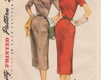 Simplicity 1240 / Vintage 1950s Sewing Pattern / Dress / Size 14 Bust 32