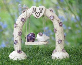 Custom wedding cake topper Ceremony love birds wedding decoration Swing wedding cake topper