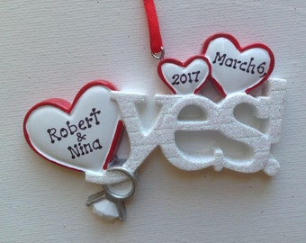 Personalized 2017 Engagement Christmas Ornament - We're Engaged! -She Said Yes! - Will You Marry Me? - Engagement Ring