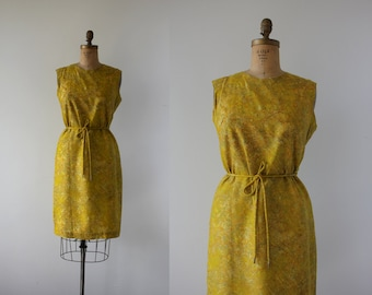 late 1950s yellow silk dress / 50s silk shift dress / 50s yellow watercolor silk dress / 60s silk shift dress / size large
