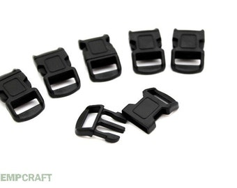 Black Paracord Buckles, 6pc, 12mm Bracelet Buckle, Side Release