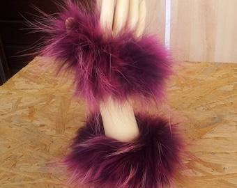 Fur cuffs, hand cuffs Finnraccoon in mixed pink