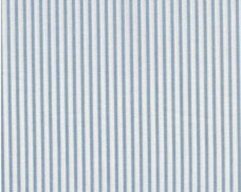 Fabric - Sevenberry pale blue stripe - shirt weight woven cotton