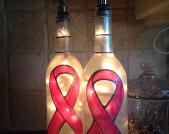 Breast Cancer Wine Bottle Lamp