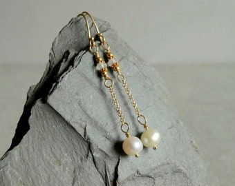 14K Gold Pearl Sapphire Earrings, 18K solid gold beads, natural organic pearls, gold chain, white sapphires, wedding, gift, 14K gold jewelry