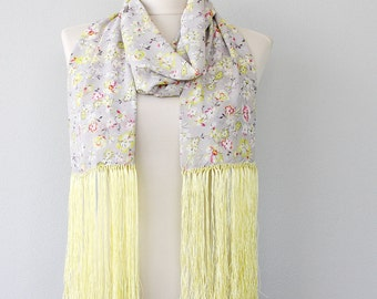 CELIA spring scarf gray yellow scarf summer scarves fringe scarf  boho fashion scarf floral scarf long scarf soft scarf women trends