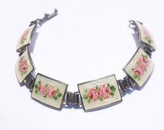 Vintage 1930's Art Deco guilloche enamel floral roses sterling panels bracelet.  Free shipping!