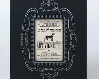 3 BLACK 5X7 Letterpress Vignettes To Mat and Frame Your Photos and Art