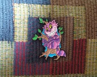Cheshire Cat Alice in Wonderland Inspired Enamel Lapel Hat Pin
