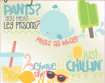 Funny Summer Clipart Set -Personal and Limited Commercial Use- Cute Summer Fun Clip Art