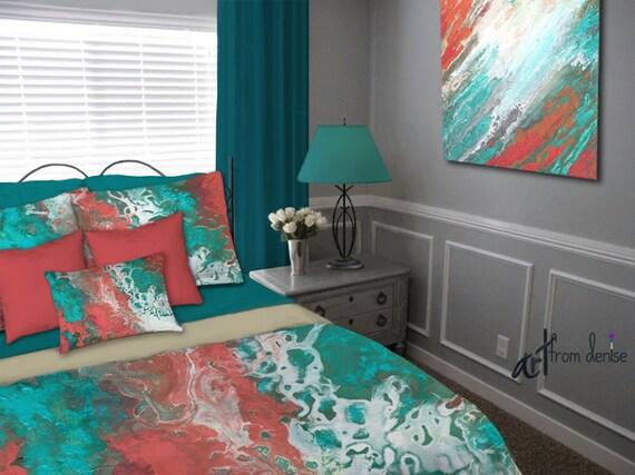 Teal Coral Gray Aqua Bedding Set Duvet Cover Queen King Full