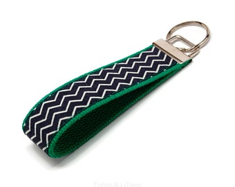 Navy Blue Chevron Fabric on Kelly Green Webbing Key Fob Keychain
