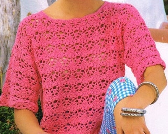 Ladies Blouse, Crochet Pattern. PDF Instant Download.