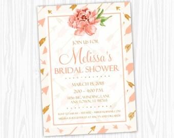 Bridal Shower Invitation, Gold Peach Pink Invitation, CUSTOM 4x6 or 5x7 size, printable, gold arrows floral, Wedding Shower Invite