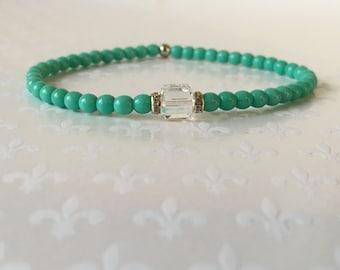 Beaded Bracelet, Stacking Bracelets, Crystal Bracelet, Layering Bracelets, Czech Glass Turquoise Beads